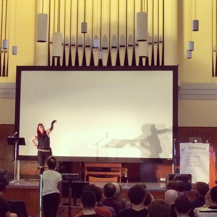 Keynote performance by Laetitia Sonami. Photo by @NIME2014.