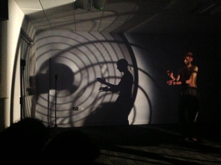 """Shadow Puppet"" performance by Mariska de Groot and Dieter Vandoren."